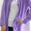 カシミア100%のロングカーディガン(紫)の画像