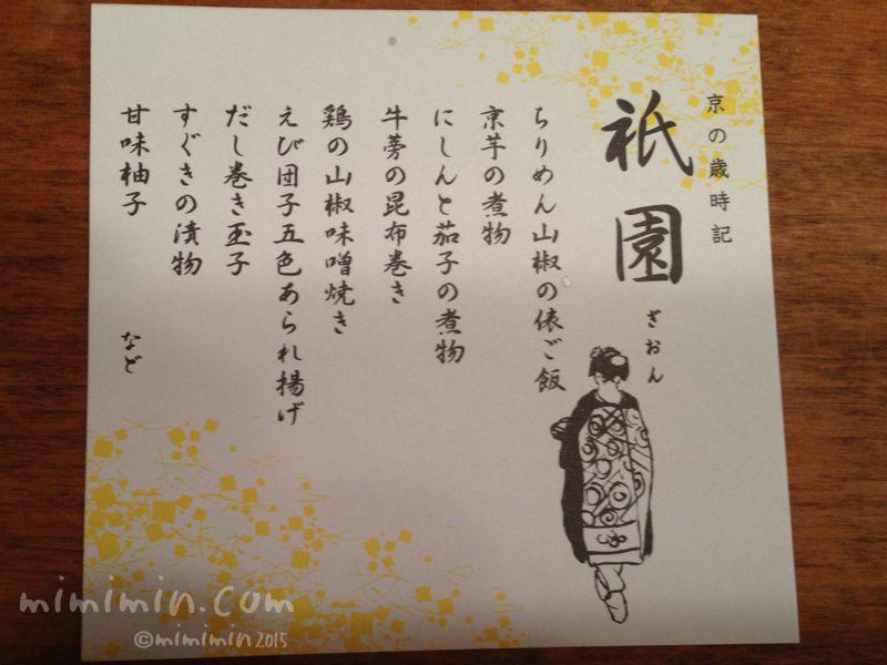 駅弁「祇園」のおしながき