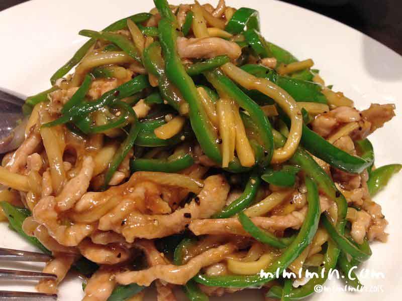 軽井沢アウトレットのレストラン・月季花(中華料理店)の海鮮汁ソバのチンジャオロースの画像