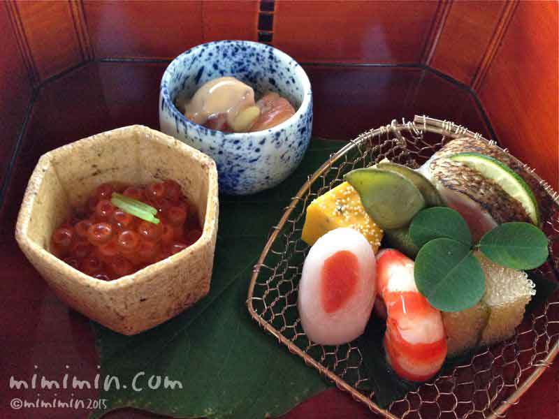 嵐山の屋形船でのお料理の写真