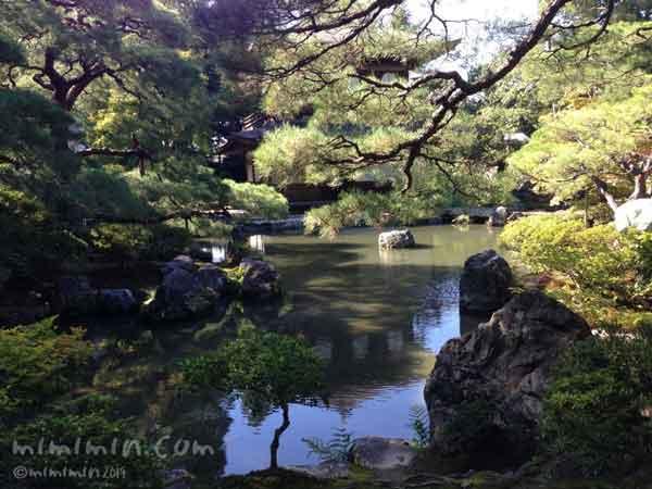 銀閣寺の池の画像