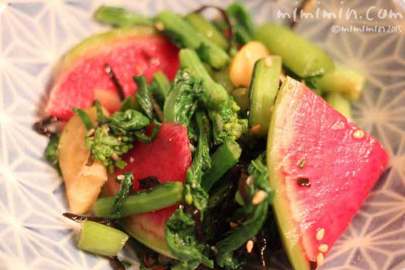 菜の花と紅芯大根の浅漬けサラダの画像