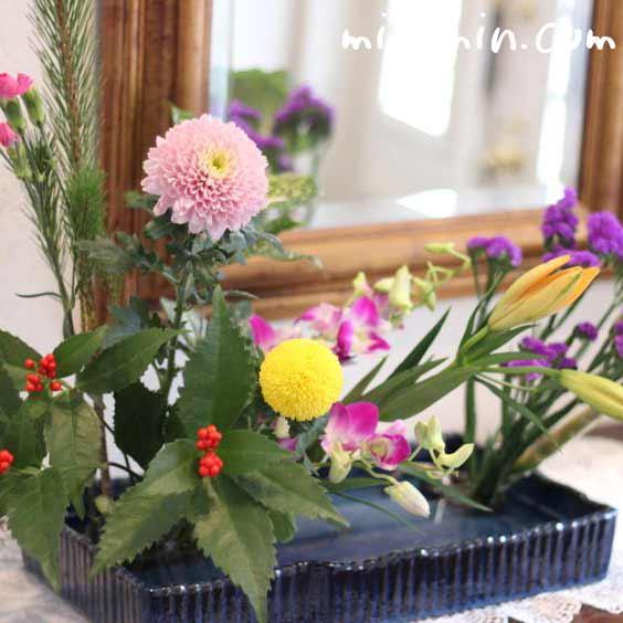 お正月の生け花(華道)の写真