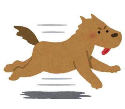 犬が走り回るイラスト