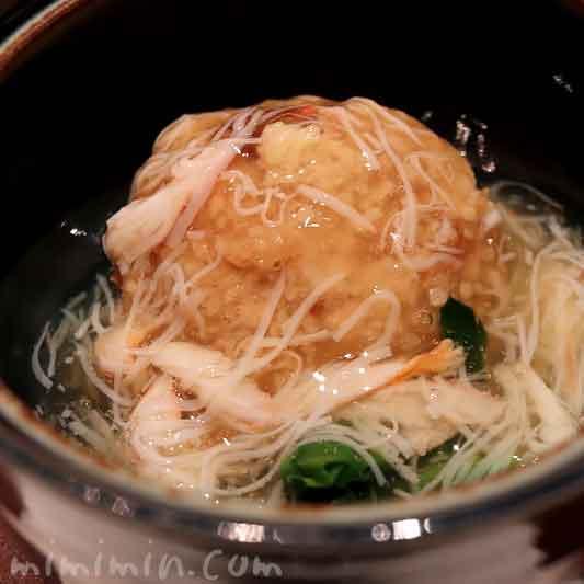 焚合| 里芋香煎揚げ 焼き穴子射込み 方蓮草 蟹あん 生姜|和田倉のランチ|パレスホテル東京の写真