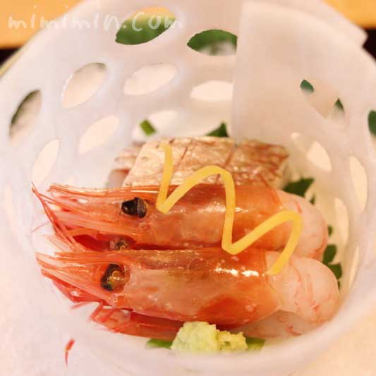 造り  籠大根盛り 鯛松皮作り 甘海老|温故知新(恵比寿)ランチ|日本料理・懐石料理の写真
