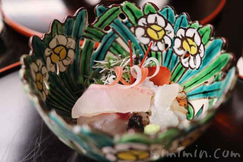 向付| 明石天然鯛 伊勢海老 山葵 新海苔赤坂 菊乃井の懐石の画像
