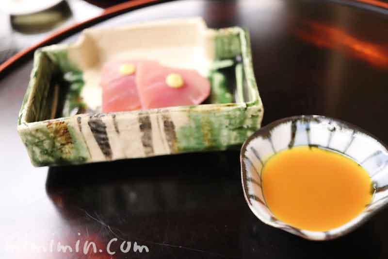 小鮪 黄身醤油 辛子|赤坂 菊乃井の懐石の写真