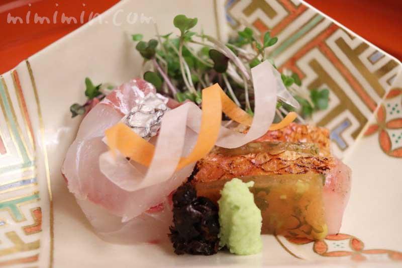 明石天然鯛 金目鯛 山葵 新海苔|菊乃井の懐石料理|赤坂