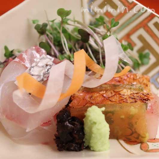 明石天然鯛 金目鯛 山葵 新海苔|菊乃井|赤坂の画像