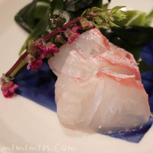 鯛のお造り|松栄 恵比寿本店 おまかせコースの写真