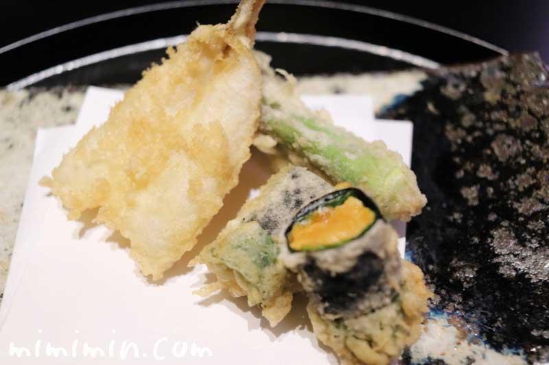 天ぷら うに アスパラ たらの芽 椎茸|天雅(中目黒)|天ぷら会席の画像