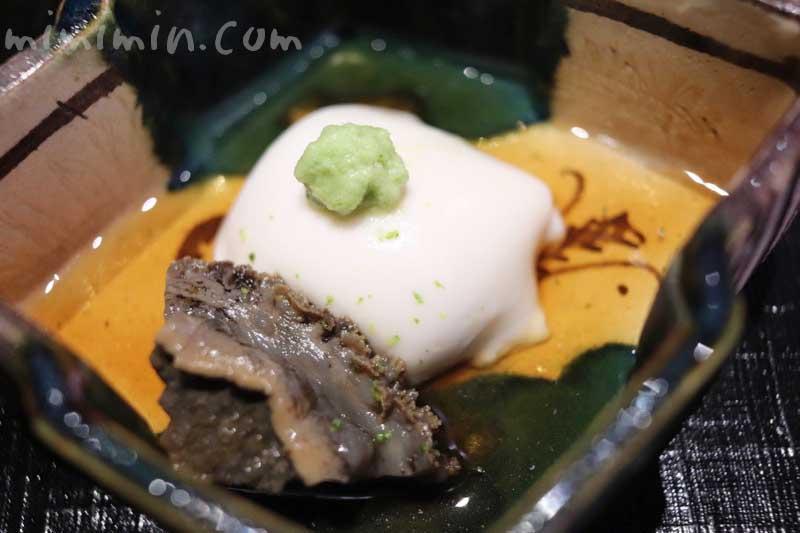 箸休め 胡麻豆腐 黒鮑|天雅(中目黒)|天ぷら会席の写真