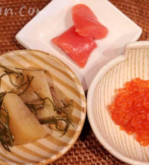 魚庵の辛子明太子の昆布〆・数の子のなにわ漬け・紅鮭いくらの燻製