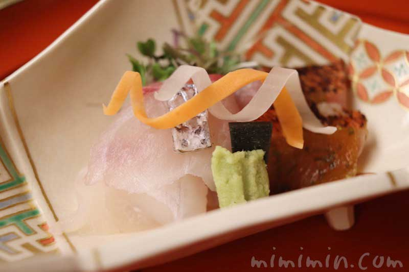 明石天然鯛 金目鯛 山葵 水前寺海苔|赤坂 菊乃井のディナー|懐石料理の写真