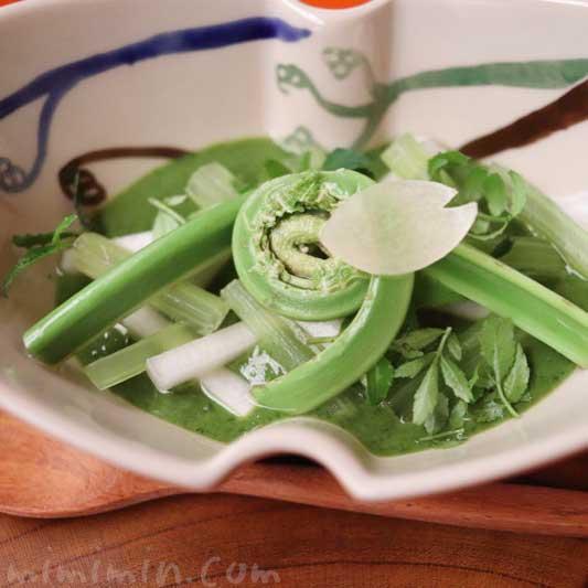 酢物 山菜木の芽豆腐(蕗 こごみ 山独活 木の芽味噌)の写真