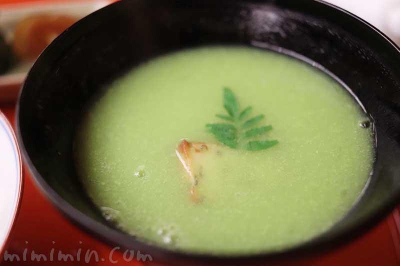 うすい豆すり流し 木の芽|赤坂 菊乃井のディナー|懐石料理の画像