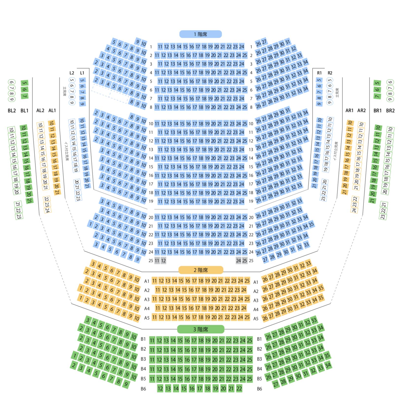 KAAT神奈川芸術劇場の座席表の画像
