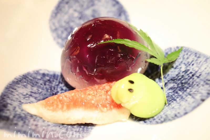 水菓子 紫陽花葛饅頭 無花果 蚕豆青蛙 日本料理 舞の凛懐石の写真