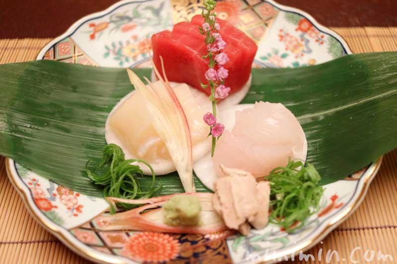 お造り 鮪 かわはぎ 帆立貝|赤坂松葉屋の個室でランチ 赤坂会席の写真