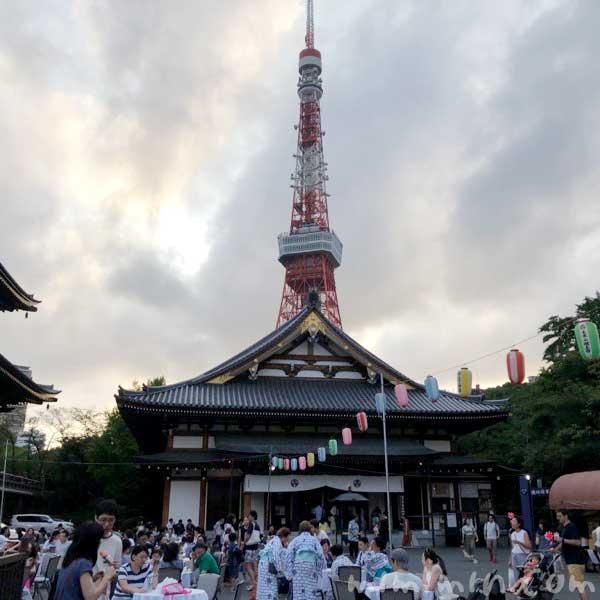 東京タワーと増上寺 (東京)の写真