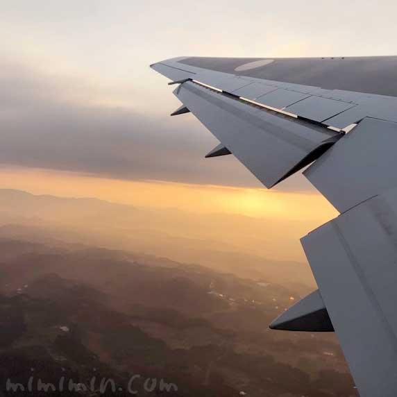 夕焼けと飛行機の写真