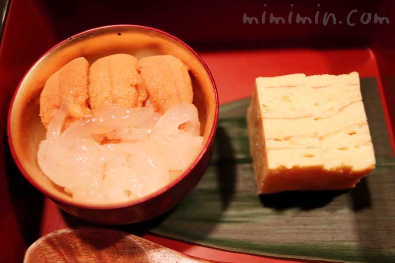 うに丼と玉子焼き|鮨 伊佐野のおまかせコース|恵比寿・寿司の画像