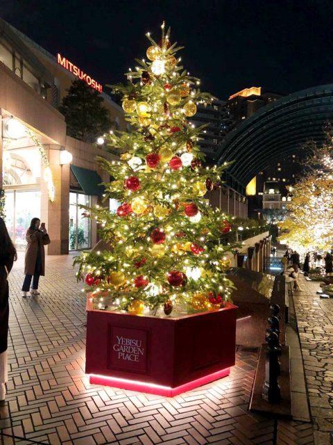 恵比寿ガーデンプレイスのクリスマスツリーとバカラのシャンデリア(2020年)