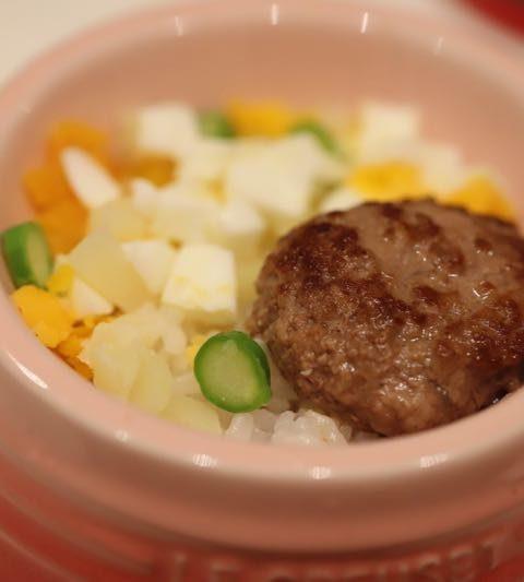 犬の手作りごはん「ハンバーグ丼とポテトサラダ」